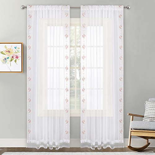 (NICETOWN W54 x L84 White Sheer Curtains for Bedroom, Rod Pocket Delicate Floral Embroidery Seam Border on The Sides, Tassel Trim on The Bottom, 2 Pieces)