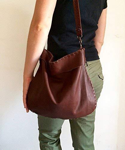 0975e86f7 Bolso de cuero marrón cosido a mano, bolsas italianas hechos a mano,  limited edition