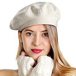 White-top Rhinestones 2 Layers Wool French Hat
