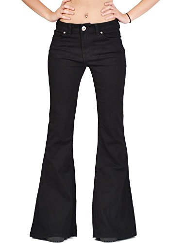 Glamour Outfitters Women's 60s 70s Flares Bell-Bottom Wide Flared Jeans - Black US10/UK12
