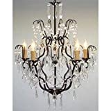 Wrought Iron Crystal Chandelier Chandeliers Lighting H27 x W21 SWAG PLUG IN-CHANDELIER W/14′ FEET OF HANGING CHAIN AND WIRE!