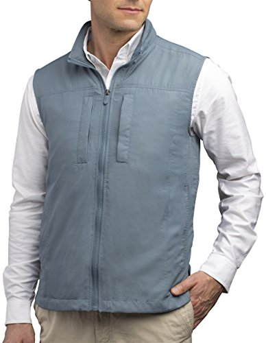 SCOTTeVEST Featherweight Men - Lightweight Vest - Travel - Utility - Safari Vest (CDB XXXL) Cadet Blue (Chest Vest Classic Pocket)