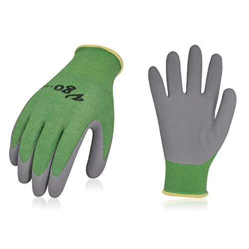 Vgo 2Pairs Kids Gloves for Age 5-7, Bamboo Work Gloves for Gardening(Size XXS,Green,KID-RB6026)