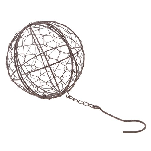 Baoblaze Rustic Iron Wire Wreath Frame Succulent Pot Iron Hanging Planter Plant Holder (Plants are Not Included) - 15cm Ball Shape (Topiary Globe)