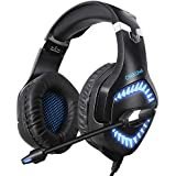 ONIKUMA G3 Professional Gaming Headset for Xbox One PS4 PC,Soft Over-Ear Stereo Headphones with Noise Cancelling Mic for Nintendo Switch Laptop (Black)