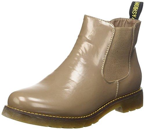 Sopily - Scarpe da Moda Stivaletti - Scarponcini Chelsea Low boots donna flashy Tacco a blocco 3 CM - soletta tessuto - Khaki