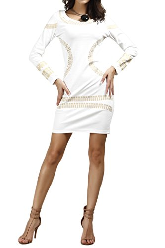 YMING Ladies Cut Out Long Sleeves Kim Egypt Gold Foil Print Cocktail Dress White - Cut Gold Out White