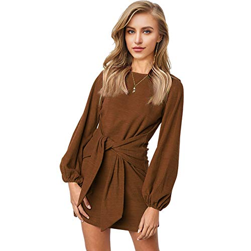 Longwu Women's Loose Casual Front Tie Long Sleeve Bandage Party Dress Chocolate -M