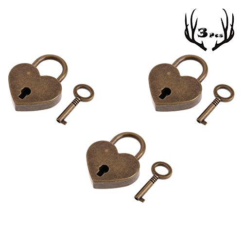 3Pcs Mini Bronze Antique Padlock Small Metal Heart Shaped Padlock Archaize Style Heart Shaped Lock Mini Lock with Key
