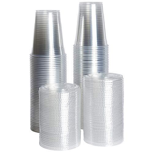 [ZEML] 100 Sets Plastic Cups With Lids, Smoothie Cups, Milkshake Cups (16 oz.) ()