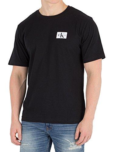 Calvin Klein Jeans Hombre Camiseta Monogram Chest Badge, Negro Negro