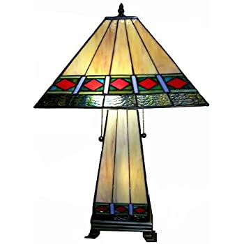 Tiffany Style Mission Style Lighted Base Table Lamp