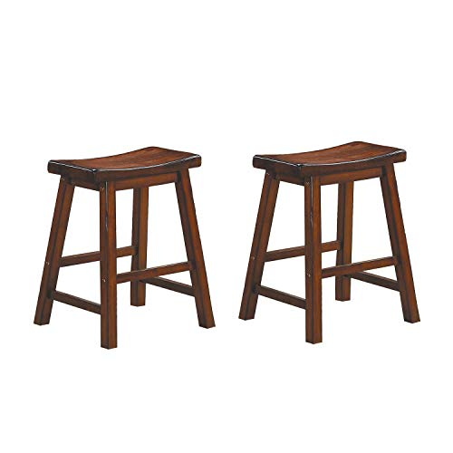 - Homelegance Saddleback 18-Inch Height Barstool, Cherry, Set of 2