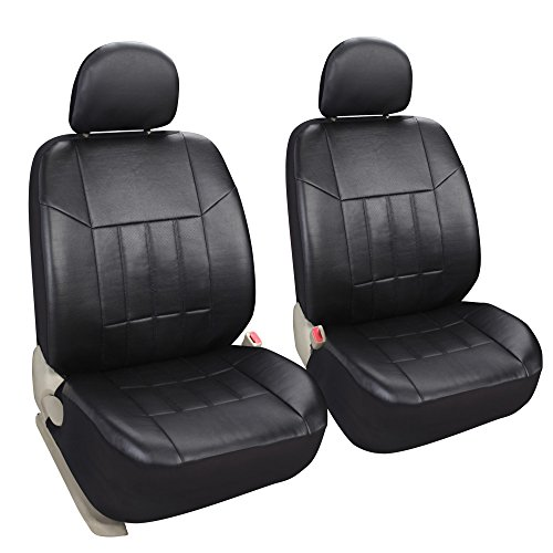 (Leader Accessories Auto 2 Leather Black Seat Covers Universal Fit Cars SUV Trucks Front Seats Low Back with Airbag)