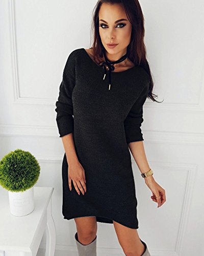 Pullover Hiver Lache Shirt Minetom Robe Solide Blouse Automne Longues Noir Chemises Col Y Long Femme Mini Manches Pull Rond Mode Dcontract 5zza6x