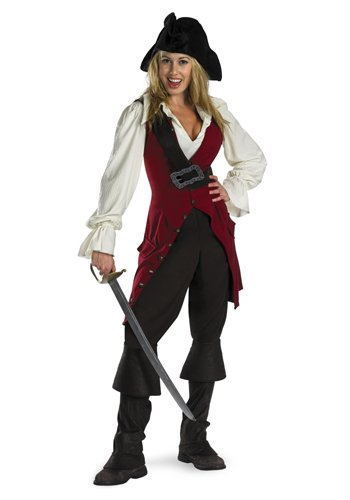 [Disguise Women's Disney Pirates Of The Caribbean Elizabeth Pirate Deluxe Costume, Brown/White/Burgandy,] (Elizabeth Deluxe Adult Costumes)
