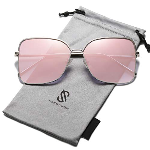 SOJOS Fashion Designer Square Sunglasses for Women Flat Mirrored Lens SJ1082 with Silver Frame/Gradient Pink Mirrored ()