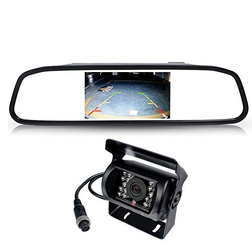Ehotchpotch 4.3 Inch Parking Monitor Mirror Dash Camera Rear View IP68 Waterproof Reversing Camera Backcup Camera Night Vision for Cars -