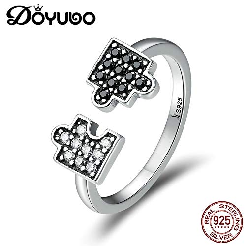 925 Sterling Silver Jigsaw Puzzle Rings for Women White & Black Cubic Lady Party Rings Jewelry Agb046