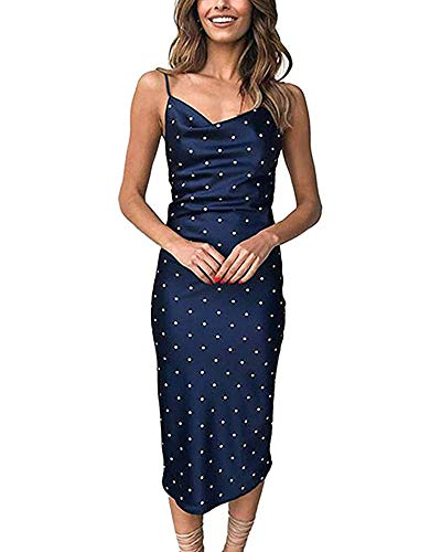 (Moxeay Womens Cowl Neck Backless Spaghetti Strap Cocktail Bodycon Midi Dress (S, Navy Polka Dots) )