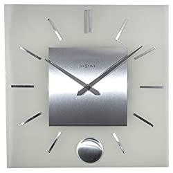 Unek Goods NeXtime Stripe Pendulum Square Wall Clock, Battery Operated
