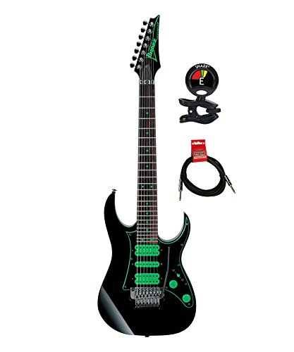 (Ibanez UV70PBK Steve Vai Premium Signature 7 String Solidbody Electric Guitar Package Included Hardshell Case with Guitar Clip on Tuner and Instrument Cable - Black)