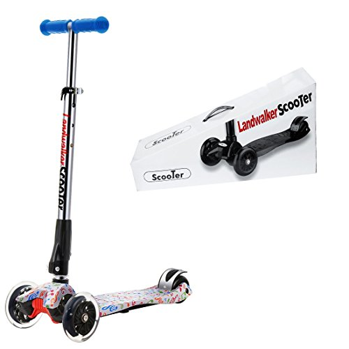 - Landwalker Flora Children Scooters Foldable Kick Scooter Adjustable Scooters Nonslip Glider 3-Wheel Scooter with PU LED Light up wheels(free bell and windmill)-note