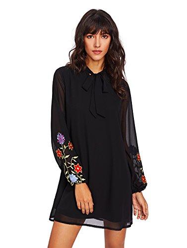 Black Silk Chiffon Dress (OEUVRE Womens Plain Silk Long Sleeve Floral Embroidered Chiffon Shift Dress with Ribbon Black S)