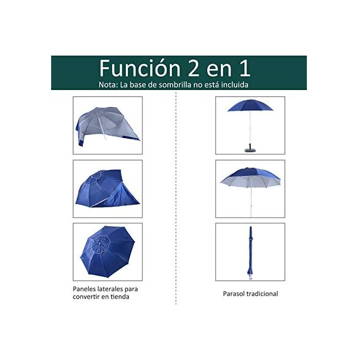 41V5pQo42gL ✅Sombrilla 2 en 1: Parasol tradicional + Tienda espaciosa con paneles laterales paravientos. Equipado con 5 ganchos y 1 lazo D para mayor fijación. ✅Cubierta de tela poliéster de alta calidad con revestimiento UV50, que protege eficazmente contra el sol y los rayos UV. Resistente a las inclemencias del tiempo. ✅Cubierta de tela poliéster de alta calidad con revestimiento UV50, que protege eficazmente contra el sol y los rayos UV. Resistente a las inclemencias del tiempo.