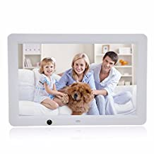 Celendi 12 Inch 1280x800 Hi-Res LED Digital Photo Frame MP3 and HD Video Player with Motion Sensor, Clock/Calendar Display, USB/SD Input (White)