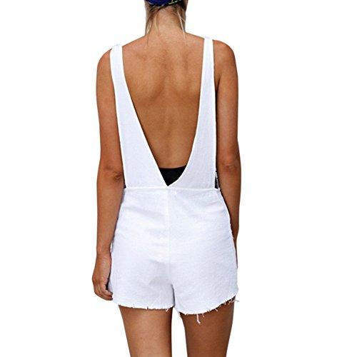 Xinvision Sangles Femmes / Dames / Filles Pantalon Combinaisons De Barboteuses Salopette Bandages Sans Manches Salopette Blanche Occasionnels Combinaisons