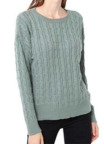 Ailaile Cashmere Sweater Women Winter Round Neck Twist Thick Pullover Wool Bottoming Loose Jumper (M/US Size 8-10, Pine - Sweater Cashmere Neck Round