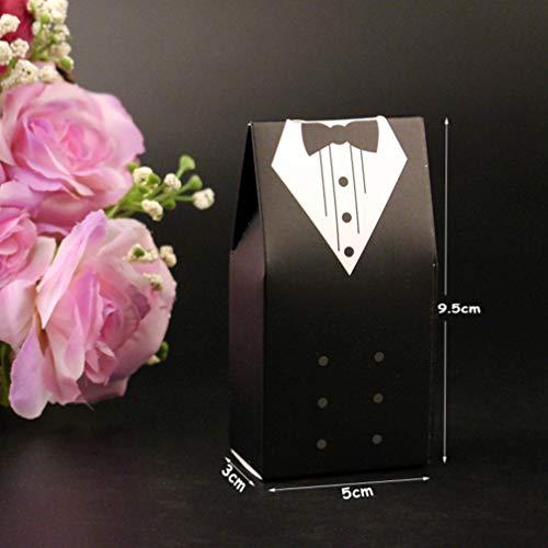 (MEIZOKEN 10Pcs Candy Box Bridal Gift Cases Groom Tuxedo Dress Gown Ribbon Wedding Favors Sugar Case Wedding Decoration)