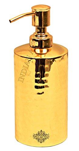 - Indian Art Villa Hammered Round Brass Liquid Soap/Shampoo Dispenser, Luxury Bathroom Accessories, Gold