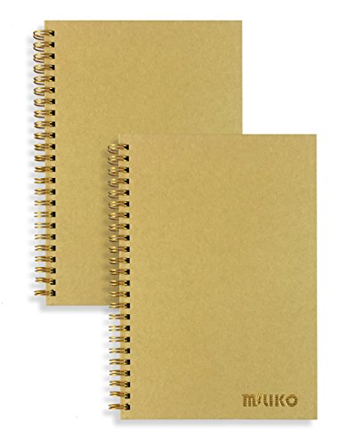 Miliko A5 Size Kraft Paper Hardcover Ruled Wirebound/Spiral Notebook/Journal-2 Notebooks Per Pack-70 Sheets (140 Pages)-8.27 x 5.67 (Golden Binding Rings, Kraft Ruled)