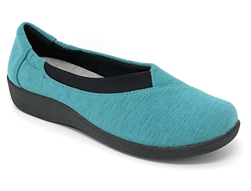 Clarks Women's CloudSteppers Sillian Jetay Flat Turquoise Heathered Fabric