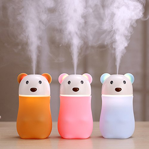 Personal Humidifier,Nestar Lovely Bear Ultrasonic Cool Mist Humidifier with Night Lights Whisper Quiet USB Small Portable Desk Car Travel Air Humidifiers Purifier for Bedroom,Yoga-room,Babies,Car