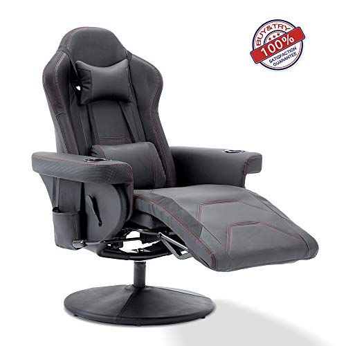 MOOSENG Reclining Gaming Chair with Adjustable headrest and Lumbar Support, Black
