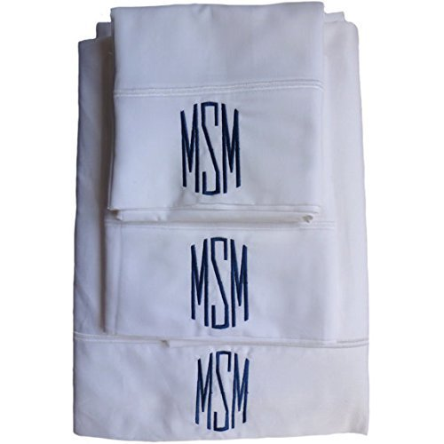 Custom Embroidered and Personalized 600 Thread Count 100% Cotton Bed Sheet Set with Monogram by Initial  Impressions