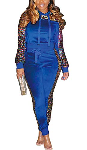 (Women 2 Piece Outfit Sequin Glitter Stitching Fleece Velvet Pullover Hoodie and Long Pants Tracksuits Jumpsuits Blue XXL)