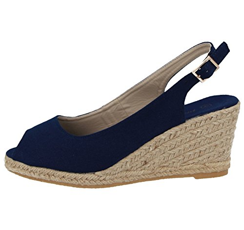 High Womens Slingback CRAZY Heel Navy Peeptoe Shoes Espadrille Sandals Wedge SHU Summer E39 Ladies 5SXwdqTgt