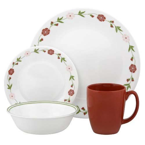 Corelle Contours 32-Piece Dinnerware Set, Spring Pink, Service for 8 (Two 16-Piece Sets) (Dishes Corelle Pink)