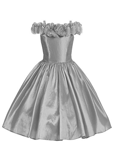 Bello Giovane Flower Decorated Off Shoulder Taffeta Flower Girl Dress (12, Silver)
