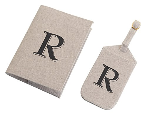 Lillian Rose Monogrammed R Luggage Tag/Passport Cover, 6.75 by 5.75