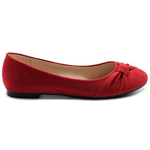 Shoe Faux Flat Women's Suede Red Ollio Ballet CgP7wxgq1