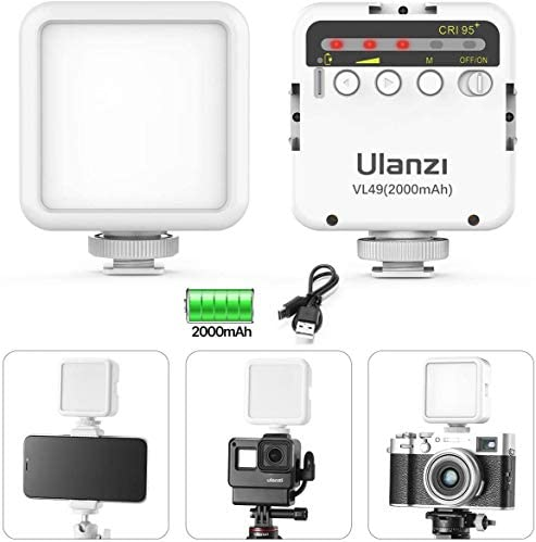 Osmo Pocket Light ULANZI VL49 Camera Pocket Led Video Light 2000mAh Recargable 3 Cold Shoe Compatible con iPhone DJI Osmo Pocket Osmo Action 3 Gopro Hero 8765 Cámara DSLR negra