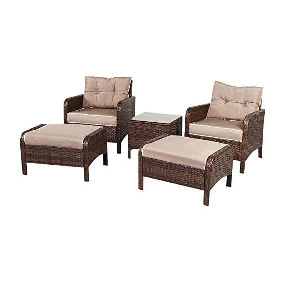 "Tangkula Wicker Furniture Set 5 Pieces PE Wicker Rattan Outdoor All Weather Cushioned Sofas and Ottoman Set Lawn Pool Balcony Conversation Set Chat Set - 【Luxurious Style & Upgrade Comfort】 The conversation set includes 2 single sofas, 2 ottomans and 1 coffee table. The set provides relaxation for 2-4 people. 4"" thickness cushions will offer comfortable experience. 【Sturdy Material & Attractive Appearance 】The set is made of high quality PE wicker and sturdy steel frame. The set is perfect for outdoor usage, and the weight capacity is up to 250 lbs. It will meet daily use. 【Easy to Clean & Variety Formation】All cushions come with zippered covers which are removable and washable by washing machine. With wet cloth you can wipe dust or blot on the glass table top in seconds. And you can put the pieces in variety formation as you like. - patio-furniture, patio, conversation-sets - 41V5rqEw6vL. SS570  -"