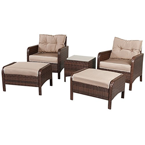 All Weather Ottoman - TANGKULA Wicker Furniture Set 5 Pieces PE Wicker Rattan Outdoor All Weather Cushioned Sofas and Ottoman Set Lawn Pool Balcony Conversation Set Chat Set