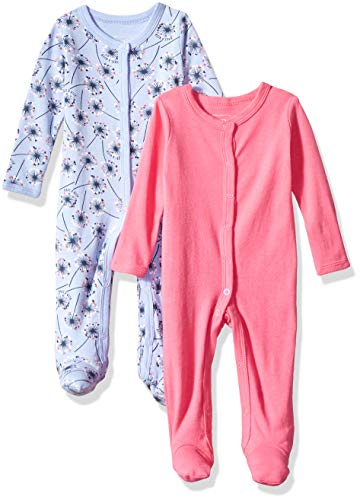 Rosie Pope Kids' Toddler Baby Girls' 2 Pack Coveralls, Blue Flower, 0-3 Months
