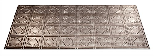 Fasade Easy Installation Traditional 4 Crosshatch Silver Glue Up Ceiling Tile / Ceiling Panel (2' x 4' Panel) by Fasade